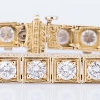 18k Fashion Diamond Line Bracelet, 7.5 ct