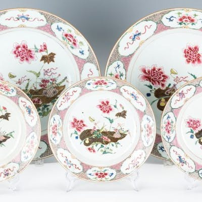 5 Chinese Export Famille Rose Porcelain Pieces