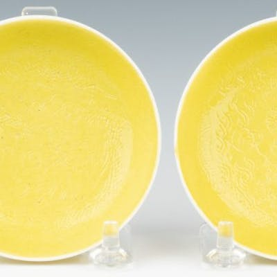 Pr. Imperial Guangxu Lemon Yellow Saucer Dishes