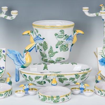 13 Hermes Moustiers Faience Toucans Pattern Porcelain Items