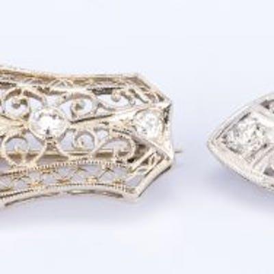 2 Edwardian Pins, 1 w/ 1.50 ct OMC center diamond
