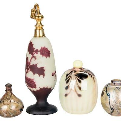 4 Art Glass Perfume Bottles