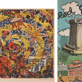 2 Red Grooms Works on Paper, incl. Coney Island