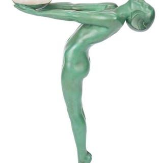 Le Verrier Art Deco Bronze Figural Lamp