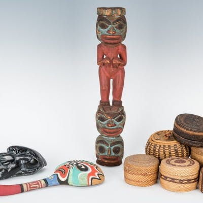 9 Native American Items, incl. Baskets & Carvings