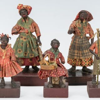 7 Southern Wax Folk Art Figures, attrib. to Vargas