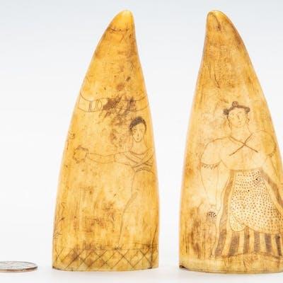 19th c. Pair Scrimshaw Folk Art Carvings