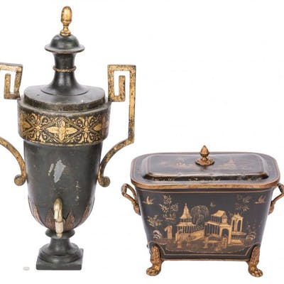 Tole Cistern and Coal Scuttle