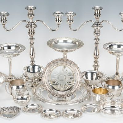 25 pcs. Sterling Holloware incl. Candlesticks, Candy Dishes