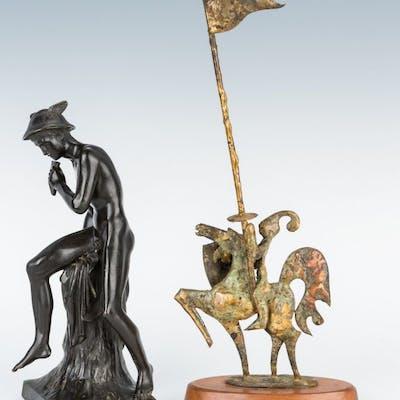 2 Sculptures incl. Hermes Bronze and Bill Lett Knight