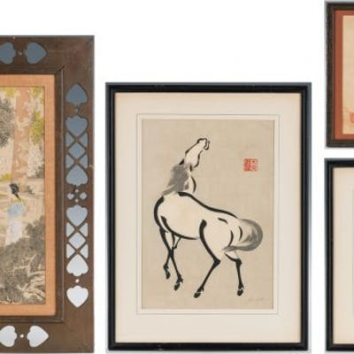 3 Chinese Works of Art, incl. Courtier Painting, Horse Prints