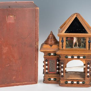 Folk Art Clock Hutch & Locking Candle Box