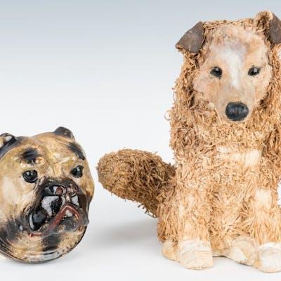 2 Folk Art Dog Figurals, incl. Paper Mache