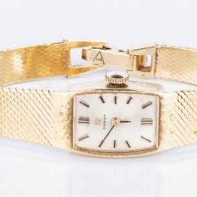 14K Items: 2 Circle Pins & Omega Watch