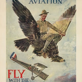 HOWARD CHANDLER CHRISTY (1873-1952) AVIATION / FLY WITH THE U.S