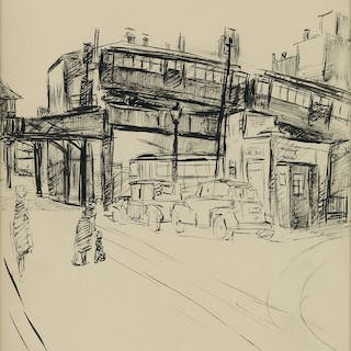ALLAN ROHAN CRITE (1910 - 2007) Dudley Street Elevated Station