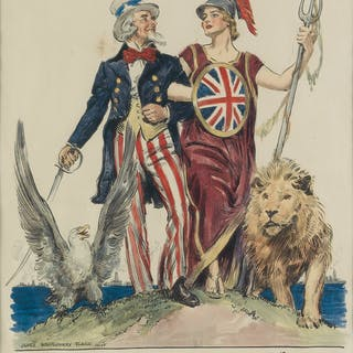 JAMES MONTGOMERY FLAGG (1870-1960) SIDE BY SIDE - BRITANNIA! 1918