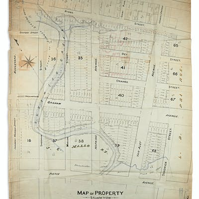 Map Of New York Showing Queens.New York City Queens 3 Nineteenth Century Manuscript Survey