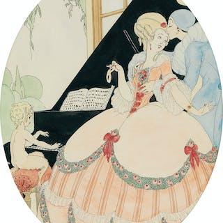 GERDA WEGENER (1886-1940) Pierrot with Chanteuse and Satyr