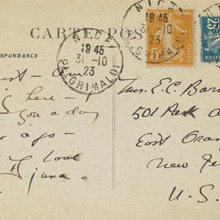 DJUNA BARNES (1892-1982) Group of 5 Autograph Notes on postcards