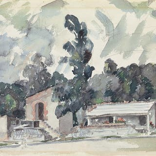 AARON DOUGLAS (1898 - 1979) Adobe Houses