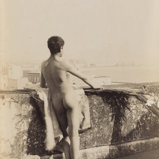 GUGLIELMO PLÜSCHOW (1852-1930) Group of 3 en plein air male nude studies