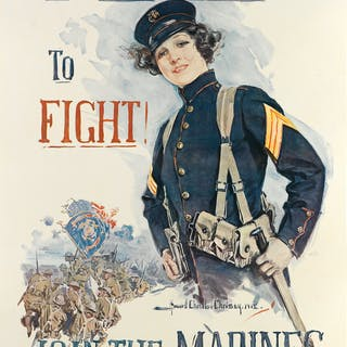 HOWARD CHANDLER CHRISTY (1873-1952) IF YOU WANT TO FIGHT! / JOIN THE MARINES