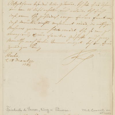 FREDERICK THE GREAT FREDERICK II; KING OF PRUSSIA (1712-1786) Letter Signed