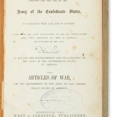 (CIVIL WAR--CONFEDERATE.) Army Regulations Adopted for...