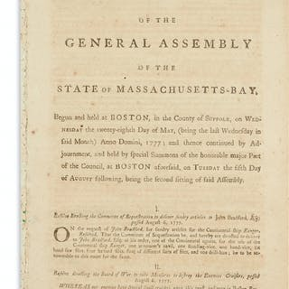 (AMERICAN REVOLUTION--1777.) Resolves of the General...