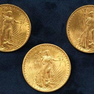 """3 pièces en or de 20 dollars """"Saint Gaudens double Eagle"""" 1922 (Philadelphie)"""