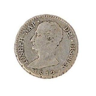 ESPAGNE - JOSEPH NAPOLEON 1 real d'argent 1812 Madrid. Calico : tipo2-7.