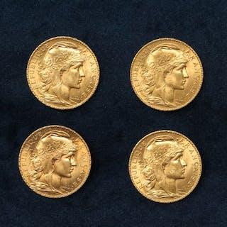 Lot de quatre pièces en or de 20 francs Coq (Liberté, Egalité, Fraternité)