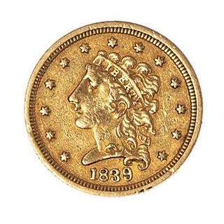 ETATS-UNIS 2½ dollars 1839 Philadelphie Friedberg : 110. TTB Poids : 4.16 g.