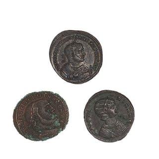 Lot de 3 folles de bronze. Dioclétien (RIC 56 A), Galerie Valeria