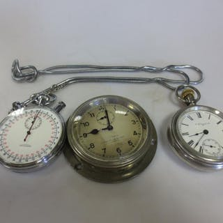 A smiths car clock, a stopwatch and an open faced pocket watch by Elgin