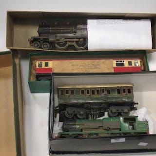Tinplate 0 gauge model trains: Bing 1st / 3rd carriage SR, 2 Bassett
