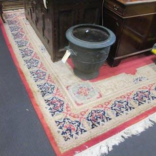 Two pink ground wool carpets, Persian design, modern (2)