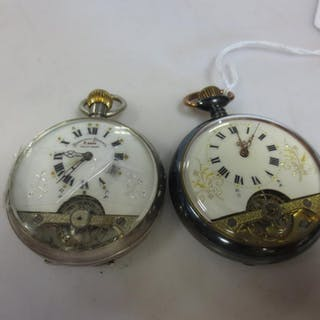 Two 8 day 'hebdomas' style open faced pocket watches, one signed (2)