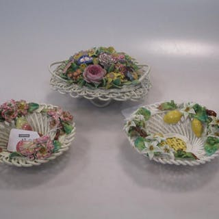 Three Derby Sampson & Hancock floral encrusted baskets