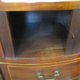 A Georgian mahogany bedside cabinet with tambour front 50 cm wide