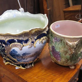 A continental majolica style jardiniere together with another ceramic bowl (2)