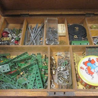 Five boxes of Meccano and related ephemera, instructions etc