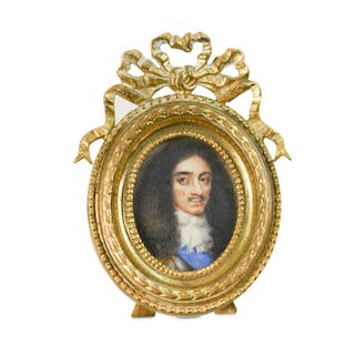 Follower of Peter Oliver, 17th Century Portrait miniature of King