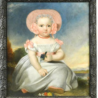 English Provincial School, late 18th Century Portrait of a small girl