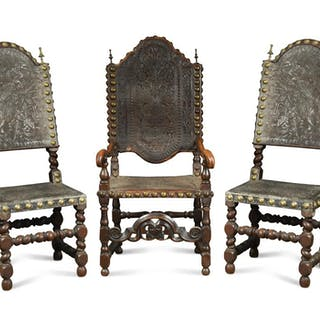 A 17th century Spanish walnut armchair, and two matching side chairs