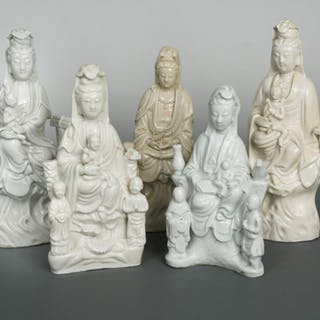 A group of five Chinese Dehua Guanyin figure groups, Qing Dynasty