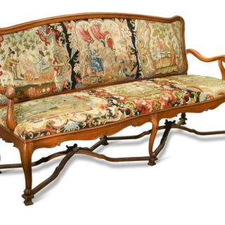 A late 17th century style Continental walnut framed salon suite, probably