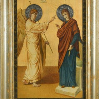 A late 19th century Greek icon, dated 1899, depicting the Annunciation