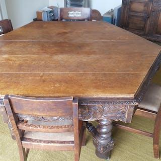 Antique Vintage Hexagonal Oak Dining Table